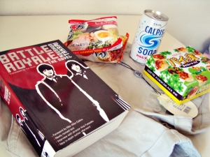 Battle Royale novel, Calpis  Soda, Japanese noodles, Bik Bok shorts and Lotte chocolate pies~ :9